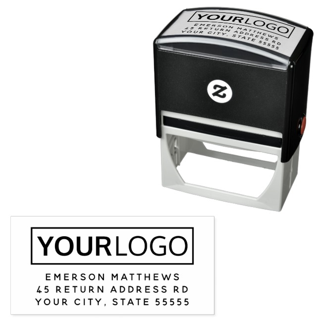 Add your own logo business return address stamp
