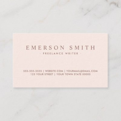 Back of classy blush pink faux linen trendy minimalist business card