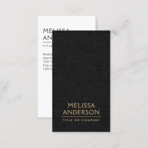 Black faux linen modern minimalist business cards