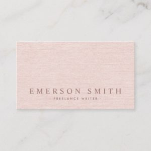 Classy blush pink faux linen trendy minimalist business card