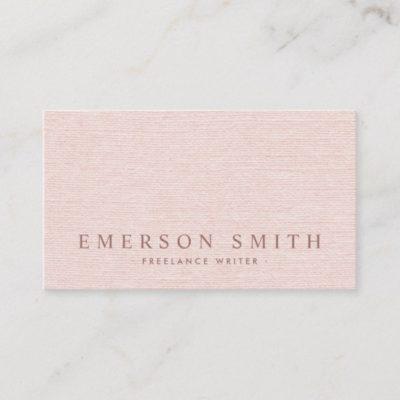 Classy blush pink faux linen trendy minimalist business card