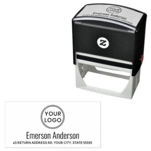 Custom logo and return address rubber stamp