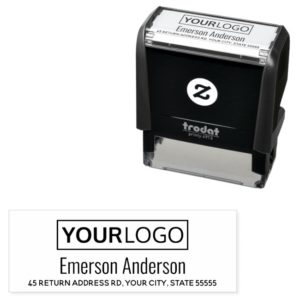 Custom logo and return address self inking rubber stamp