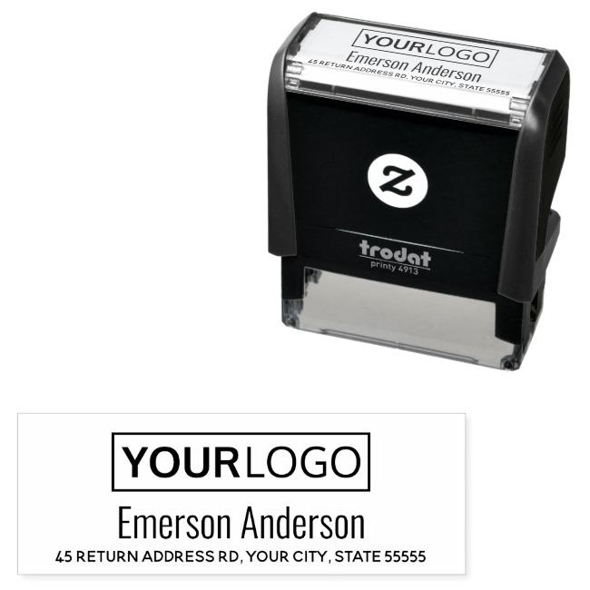 Custom logo and return address self inking rubber stamp