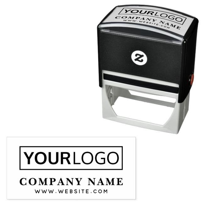 Custom logo website url text rubber stamp template