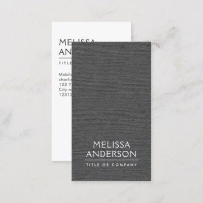 Dark gray linen modern minimalist vertical business cards