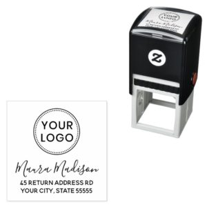 Feminine script custom logo self-inking return address stamp