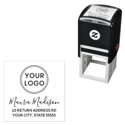 Feminine script custom logo self-inking return address stamp