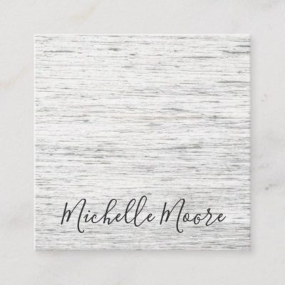 Light gray rustic drift wood grain square business cards