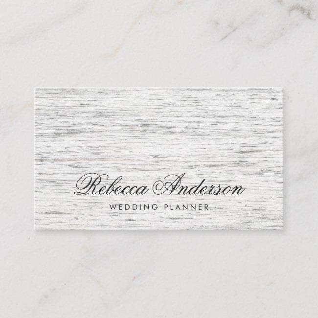Light gray wood romantic script business card