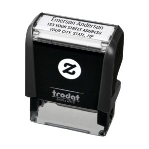 Plain simple return address self-inking rubber stamp