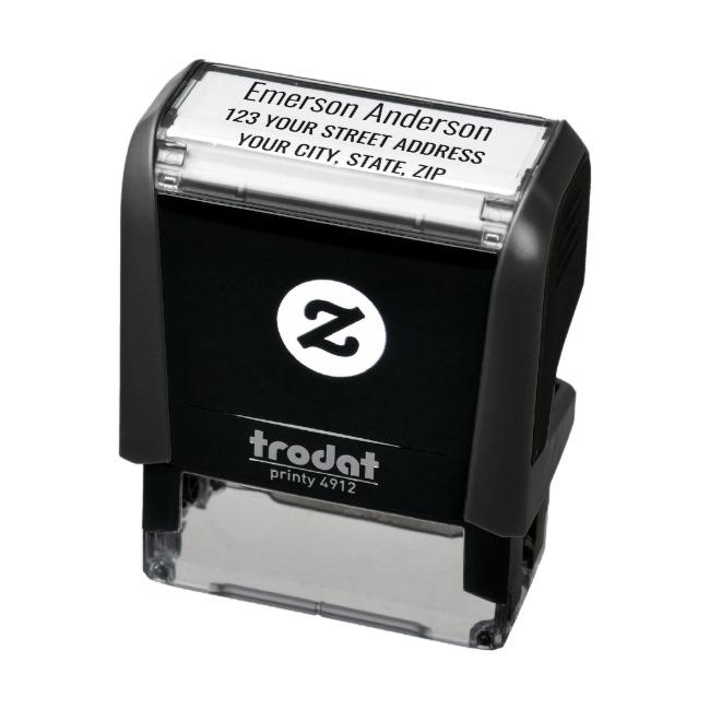 Plain simple return address self-inking rubber stamp