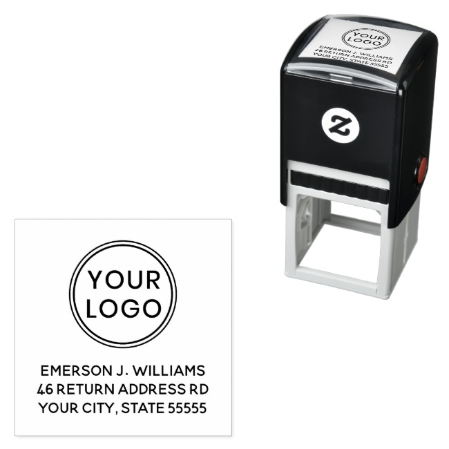 Return address rubber stamp with customizable logo or graphic