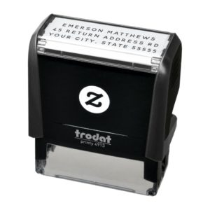 Simple plain self-inking return address stamp