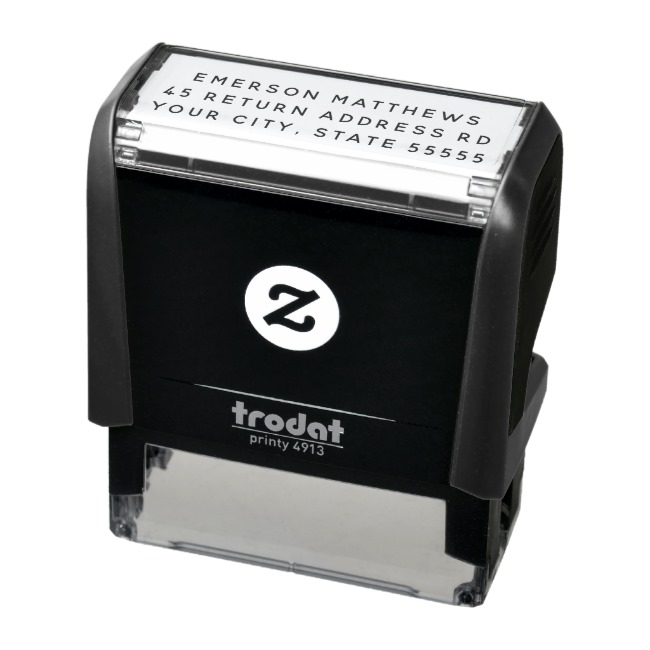 Simple plain self-inking return address stamp