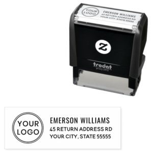 Your custom logo and return address self-inking stamp