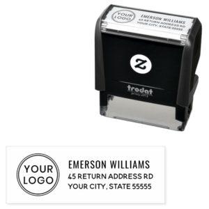 Your custom logo and return address self-inking stamp